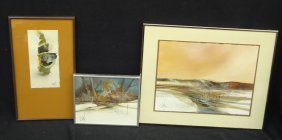 Jerry Seagle (3) Abstract Acrylic Paintings All Signed