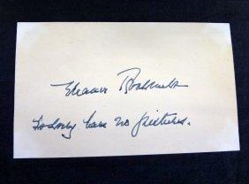 ?eleanor Roosevelt÷ Cut Signature On A 5 X 3 Card.