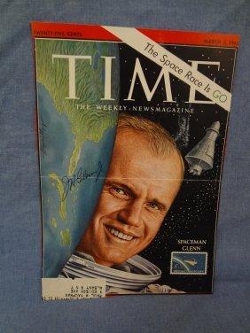 John Glenn Autographed Time Magazine Cover 3-2-1962 Loa
