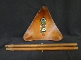 Hopi Native American Triangular Tooled Leather Seat