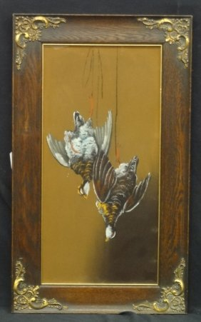 "Watercolor/gouache ""grouse After The Hunt"" Ornate Oak"