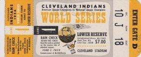 1954 Cleveland Indians World Series Game 4 Ticket Stub