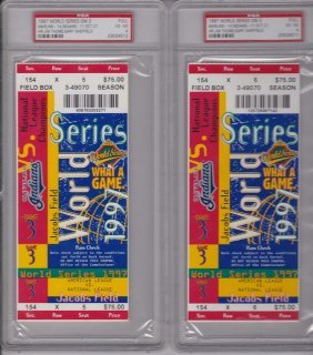 Pair Of 1997 World Series Game 3 Full Tickets, Psa