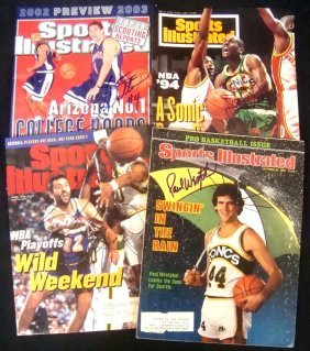 Lot Of (4) Autographed Sports Illustrated Magazine