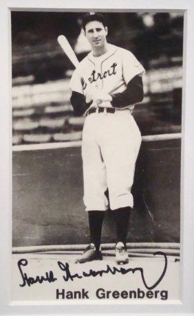 Hank Greenberg Autographed Framed 4x6 Postcard Display