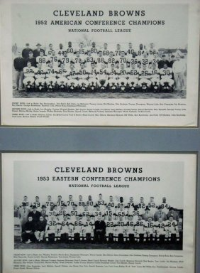 1952-53 Cleveland Browns Team Photographs Framed