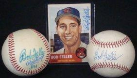 Bob Feller Signed Baseballs (x2) And 1953 Topps Signed