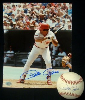 Pete Rose Autographed Onl Baseball And 8x10 Photograph