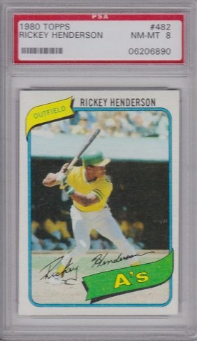 1980 Topps #482 Rickey Henderson Rookie Card, Psa Nm-mt