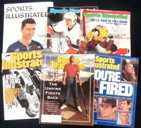 Lot Of (6) Autographed Sports Illustrated Magazine