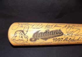 1997 Cleveland Indians Heavy Hitters Laser Engraved Bat
