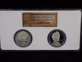 2009-p Lincoln Bicentennial 2 Coin Silver Dollar