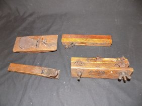 Group Of 4 Primitive Asian Signed Woodworking Tools