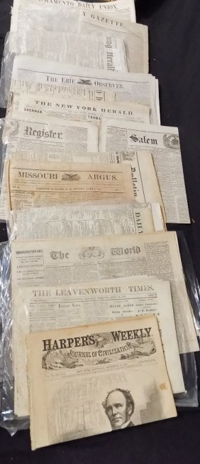 (45) Historical Newspapers From 1860-1869 Civil War