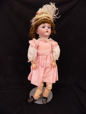 "German 22"" Bisque Open Mouth Doll Marked 69-12x Germany"