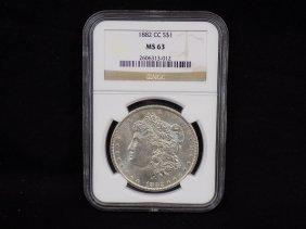 1882cc Morgan 90% Silver Dollar Carson City Graded Ngc