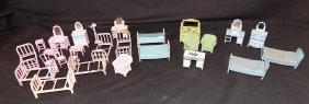 Metal Doll Furniture Bedroom Set Lot Pink, Blue Some