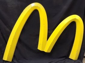 "Mcdonald's 'golden Arches' Metal Sign Measures 50"" Wide"