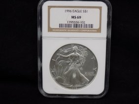 1996 - Silver American Eagle Graded Ngc Ms 69