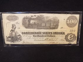 1862 Confederate States Of America $100 Note Dated