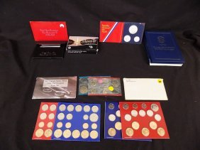 (5) Us Silver Proof & Uncirculated Sets + (7)