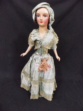 "Early 1900's Victorian Dress 27"" Composition Doll"