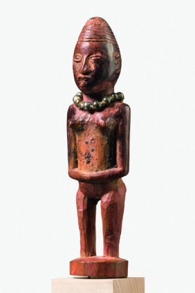 Standing Miniature Figure With Beaded Necklace - D. R.