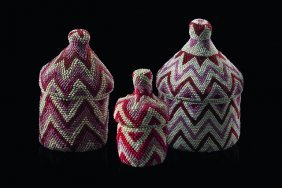 """Three Beaded Baskets With Lids """"igeseke"""" - Ruanda,"""