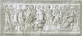 Drawn Bas-relief. Ancient Rome. Italy. ~17th-18th.