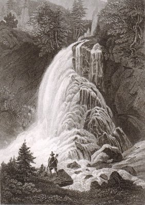 The Gollinger Fall In Tirol. Austria. 1850.