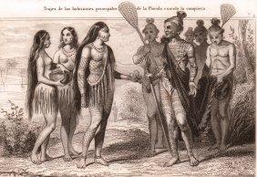 Costumes Major Of Inhabitants In Florida. Usa. 1844.