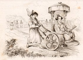 De Sanson. Jepanese Lady In Chariot. 1834.