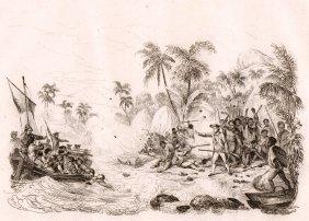 Death Of Captain James Cook. Hawaii. 1835.