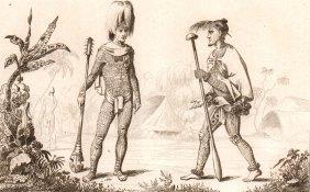 Fully Tattooed Warriors. Nuku Hiva. 1837.