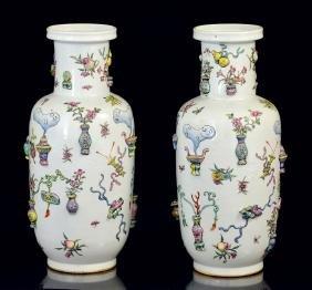 Pr. Chinese Polychrome Vases
