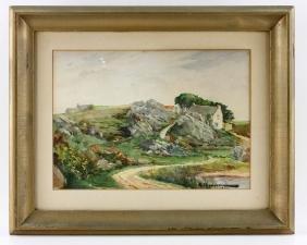"""Chausson, """"Cotes Du Nord Bretagne,"""" Watercolor"""