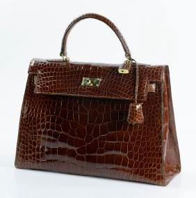 Hermes Style Kelly Sellier Crocodile Bag
