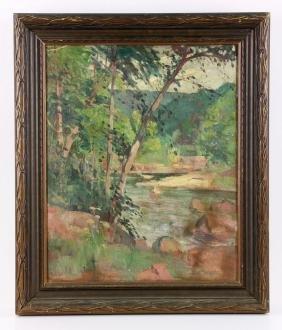 Bernecker, Woodland Landscape, Oil On Board
