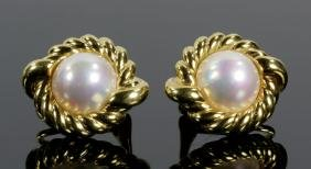 Pr. 18K Gold And Mabe Pearl Earrings