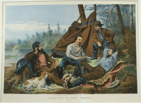 A.F. TAIT, CAMPING IN THE WOODS, LITHO, 1863