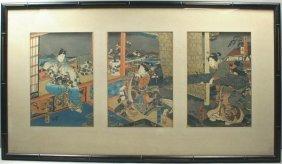 GEISHAS IN AN INTERIOR, JAPANESE TRIPTYCH