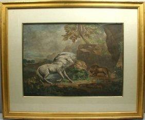 GEORGE STUBBS, HORSE AND LION, HC MEZZOTINT