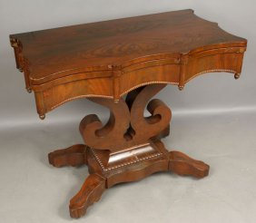 19th C. Classical Gothic Empire Mahogany Table