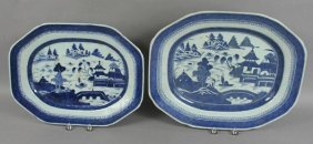(2) 19th C. Canton Platters