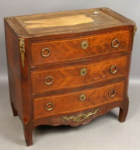Late 19th C. French Three-Drawer Inlaid Chest