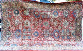 "Antique Oriental Carpet, 12' 2"" X 9' 7"""