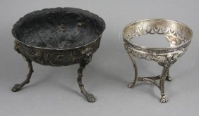 Sterling English Repousse Bowl, French Stand