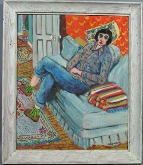 Max Swartz, Gloucester, Woman On Sofa, O/c