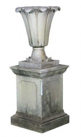 English Dry Cast Limestone Tulip Urn And Pedestal