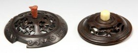 Two (2) Chinese Carved Wood Covers